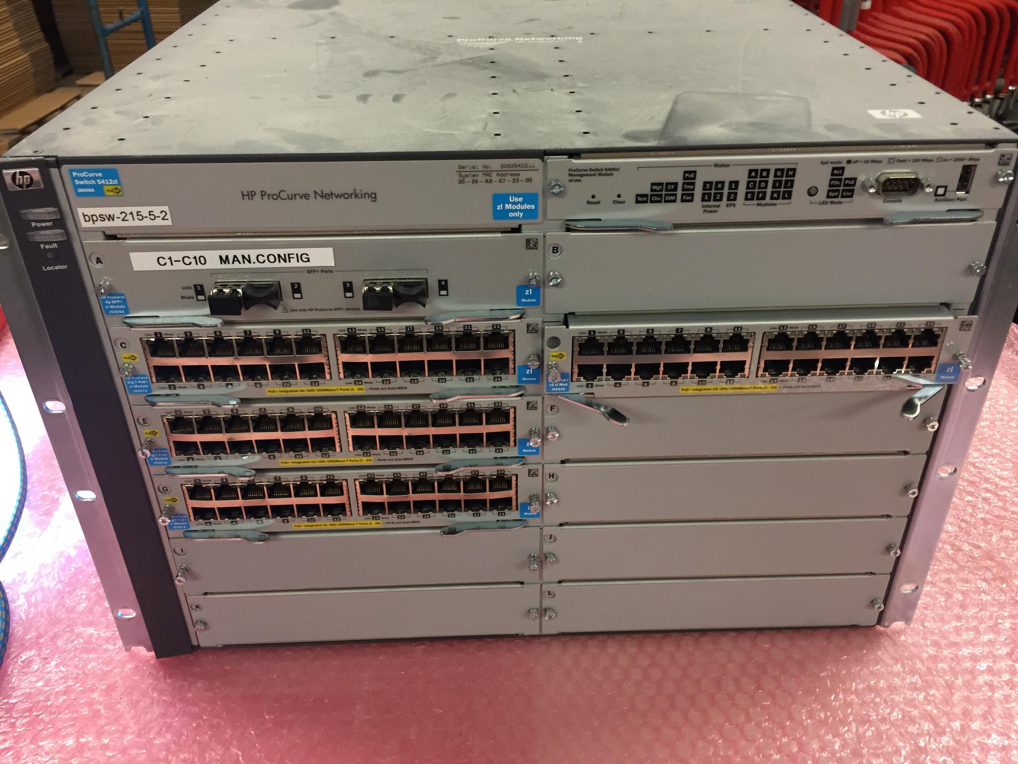 Reinigung Switch HP ProCurve Networking 5412zl und Lüfter, Module.