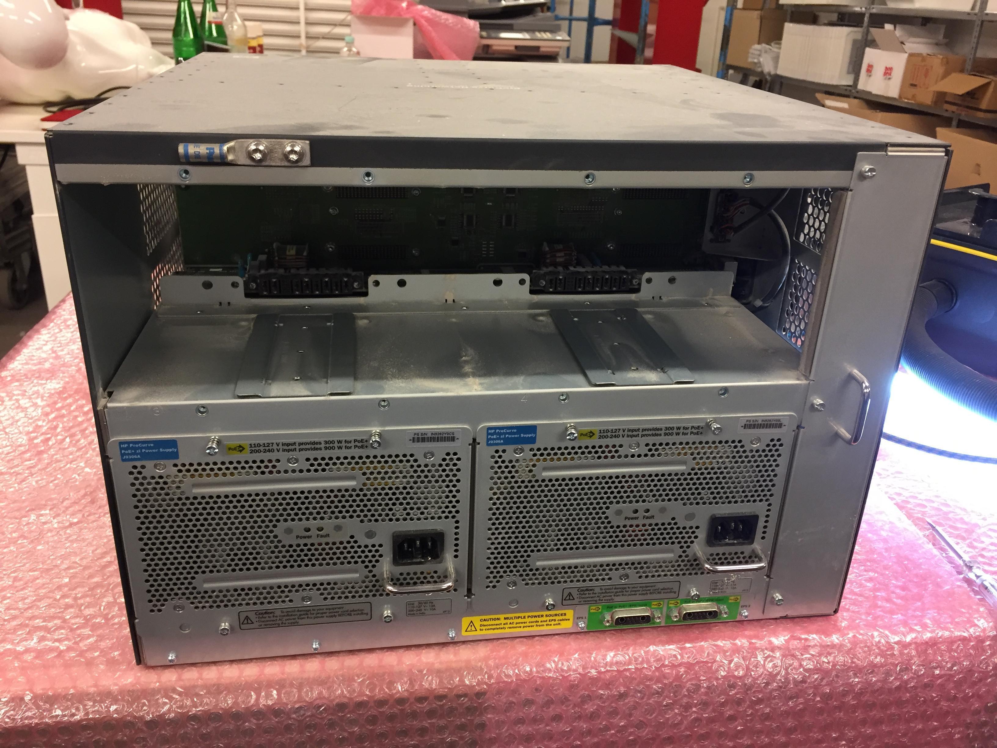 Reinigung Switch HP ProCurve Networking 5412zl und Module, Lüfter.